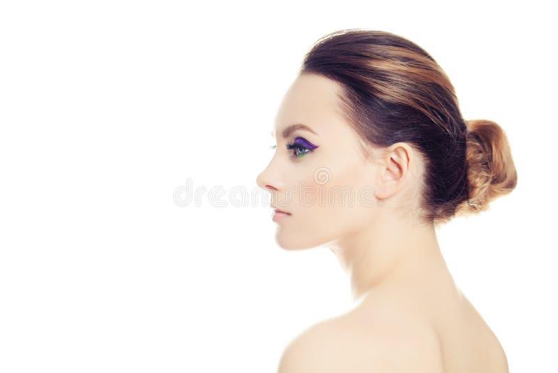 Beautiful Woman Isolated on White. Profile stock image