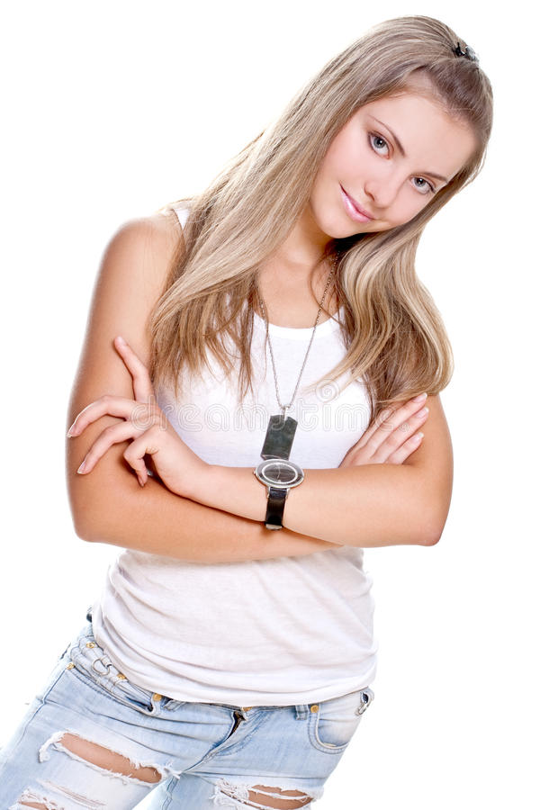 Download Beautiful Woman In A Jeans With Dog Tag Stock Image - Image: 10496411