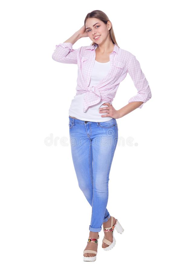 Beautiful woman in jeans posing isolated on white background royalty free stock image