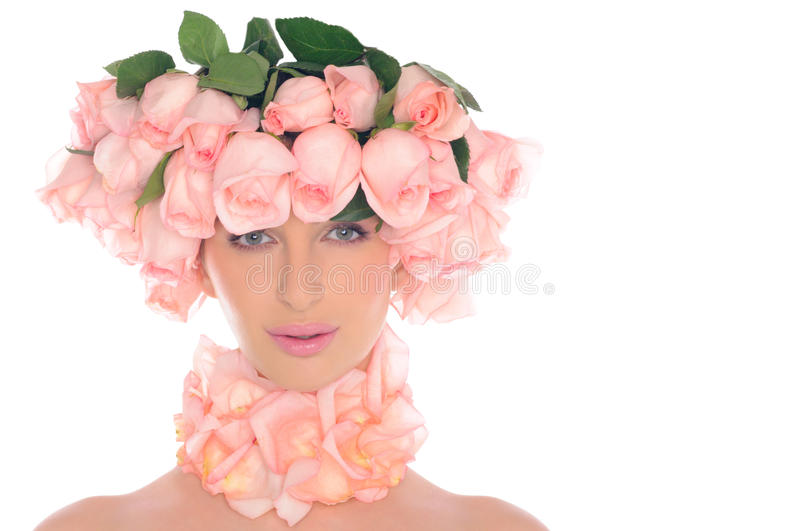 Beautiful woman with jewelry of pink roses stock photo