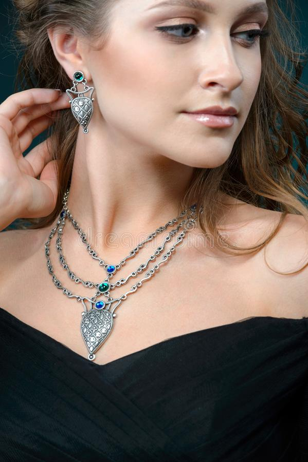 Beautiful woman with jewelry, Portrait of Pretty Girl with Jewelry stock image