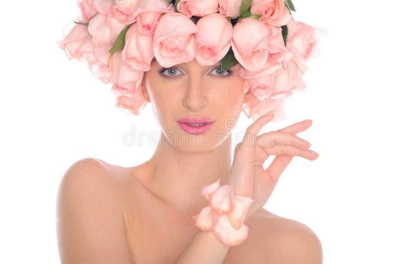 Beautiful woman with jewelry of roses royalty free stock photos