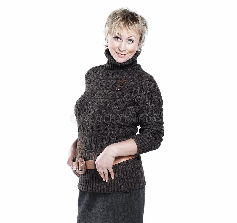 Beautiful woman in knitted sweater .isolated on a white stock photos