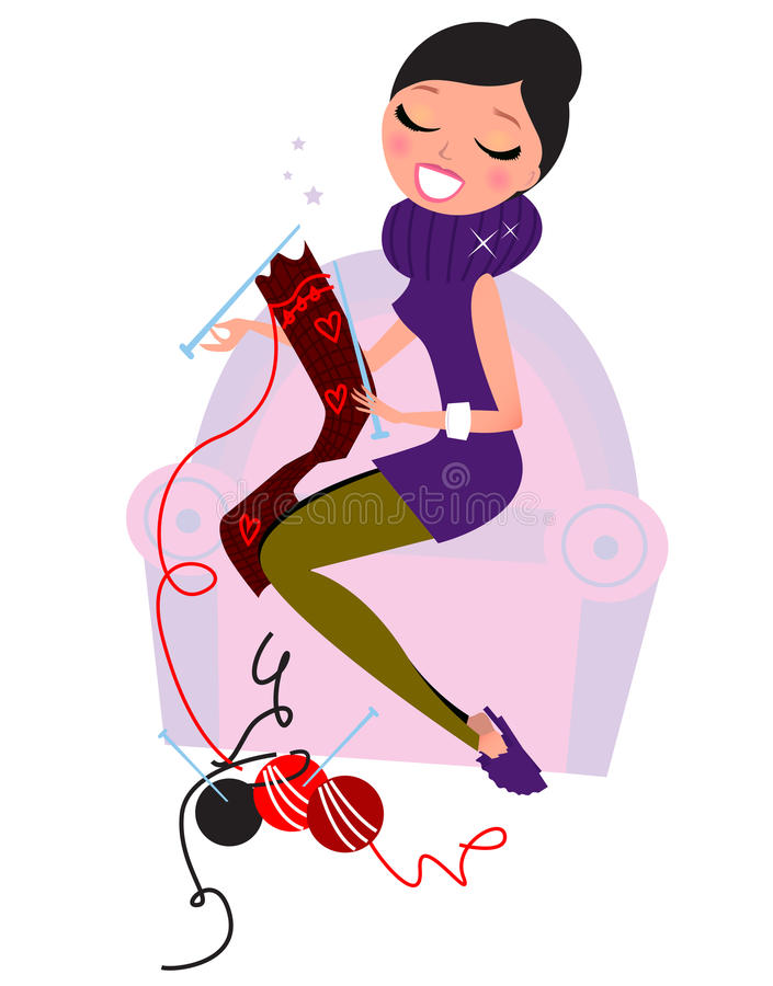 Download Beautiful Woman Knitting Hand Made Scarf Stock Vector - Image: 21989254