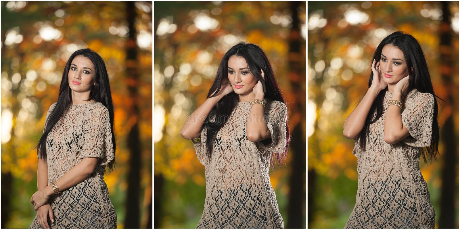 Beautiful woman in lace blouse posing in autumnal park. Young brunette woman spending time in forest during fall season. Long dark hair attractive woman stock images