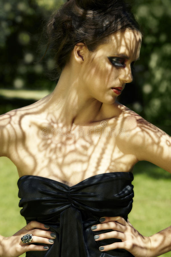 Download Beautiful Woman With Lace Shadows Stock Photo - Image: 18597850