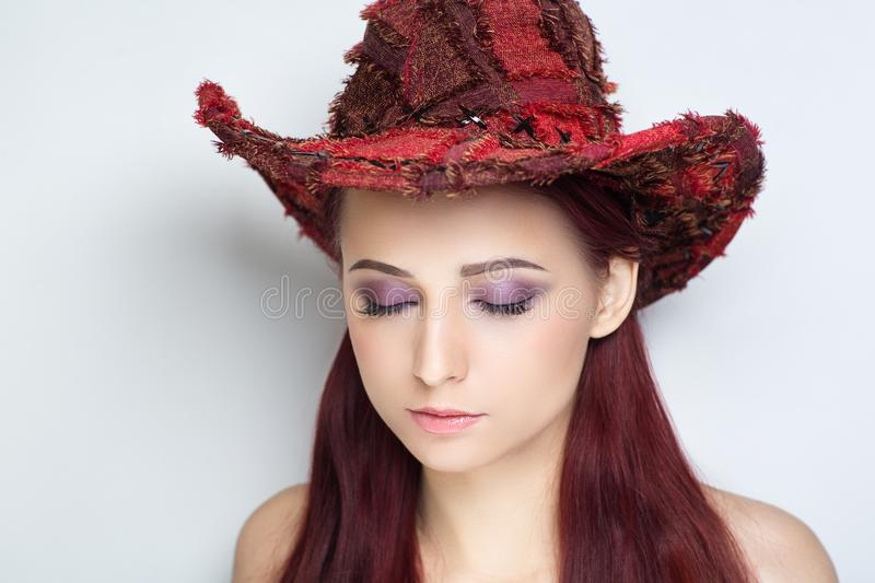 Woman cowboy hat stock images