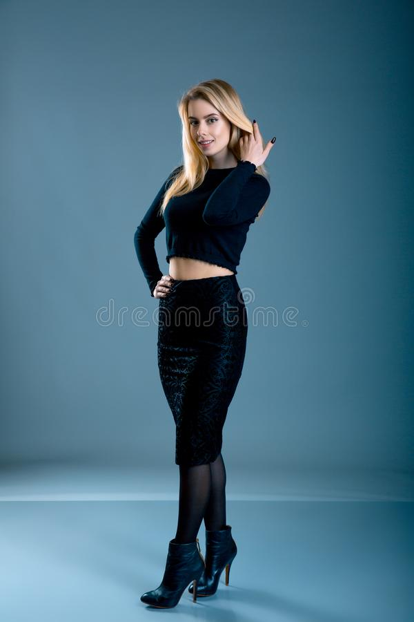 Beautiful woman lady spring autumn collection glamor model business office fashion clothes wear casual style black color suit blou royalty free stock photography