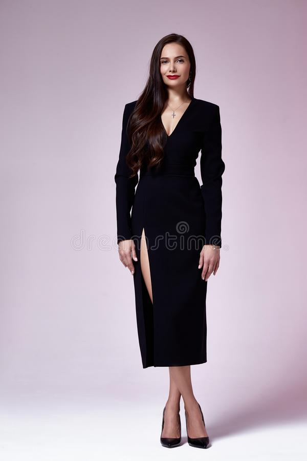 Beautiful woman lady spring autumn collection glamor model business office fashion clothes wear casual style black color suit royalty free stock image
