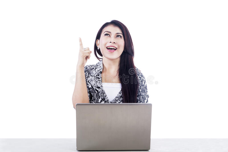 Beautiful woman with laptop isolated over white stock photos