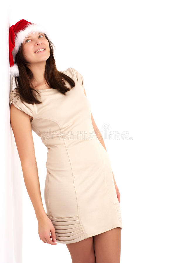 Download Beautiful Woman Leaning On A White Stock Image - Image: 22454637