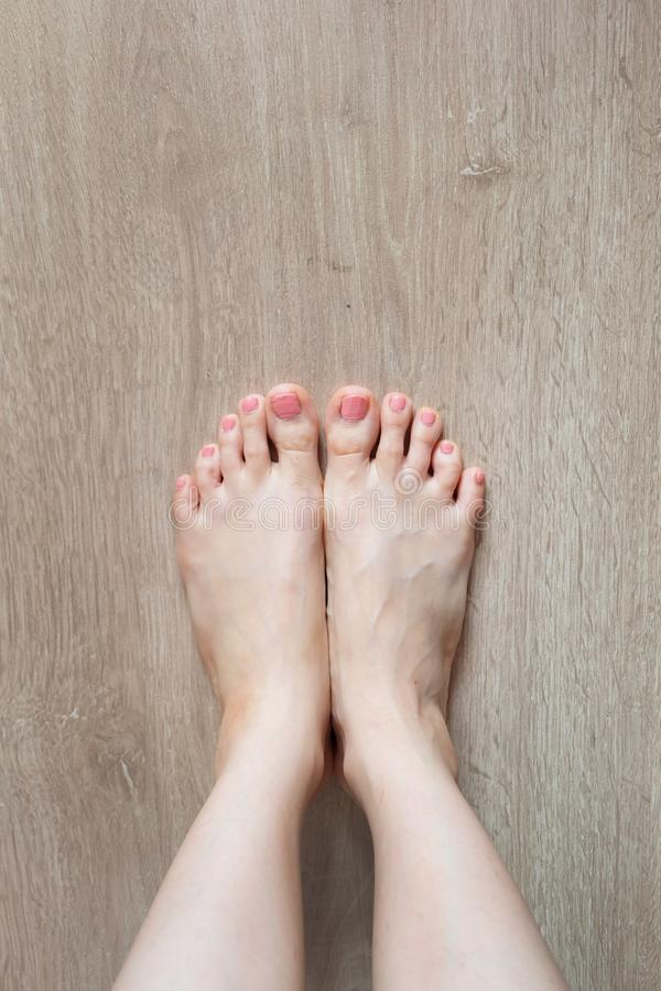 Beautiful Woman Legs and Feet. Close Up Female Barefoot On Wooden Floor Background stock photos