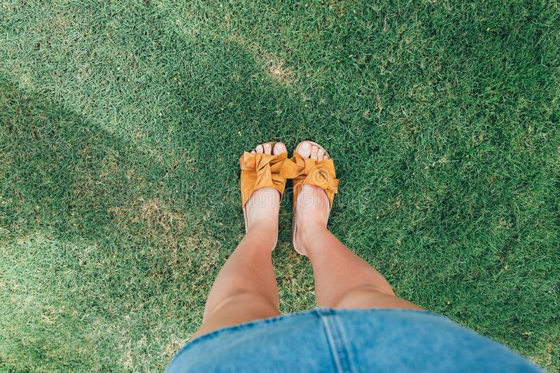 Beautiful woman legs on the grass top view stock image