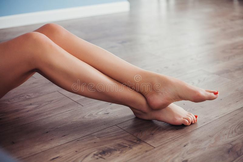 Beautiful woman legs, slim and smooth. Body care concept. royalty free stock photography