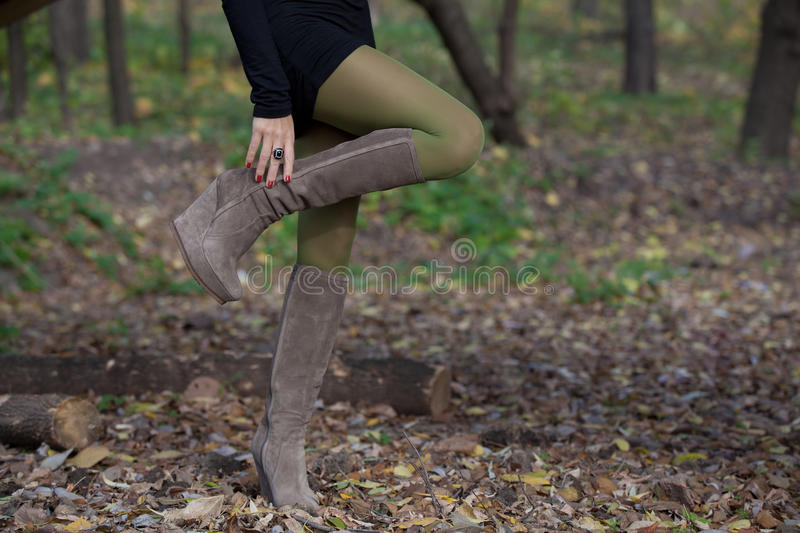Beautiful woman legs in suede boots in autumn forest stock photography
