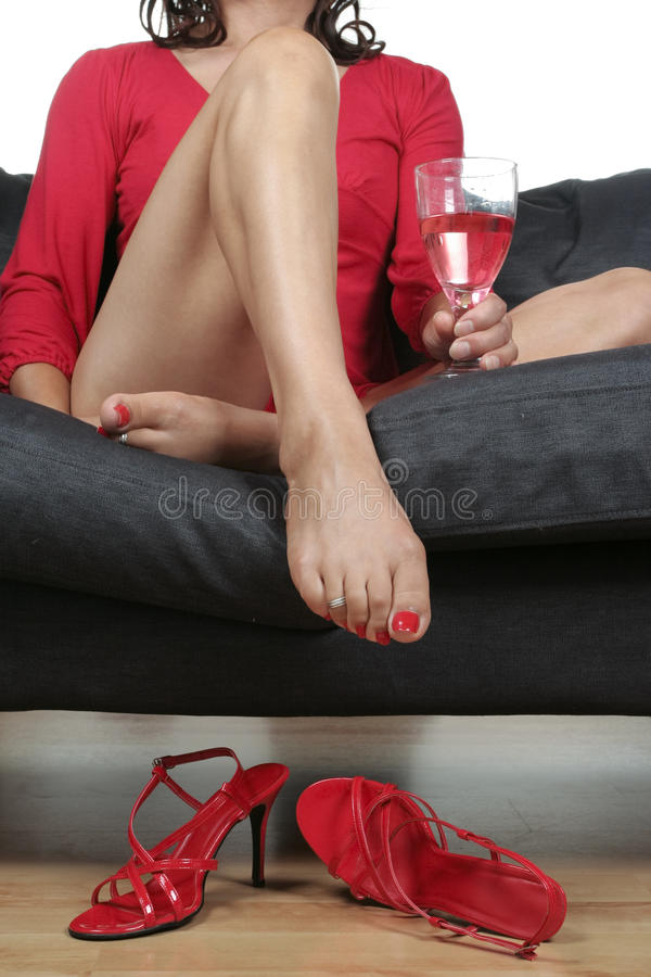 Free Beautiful Woman Legs With Drink Relaxing Stock Image - 15782181