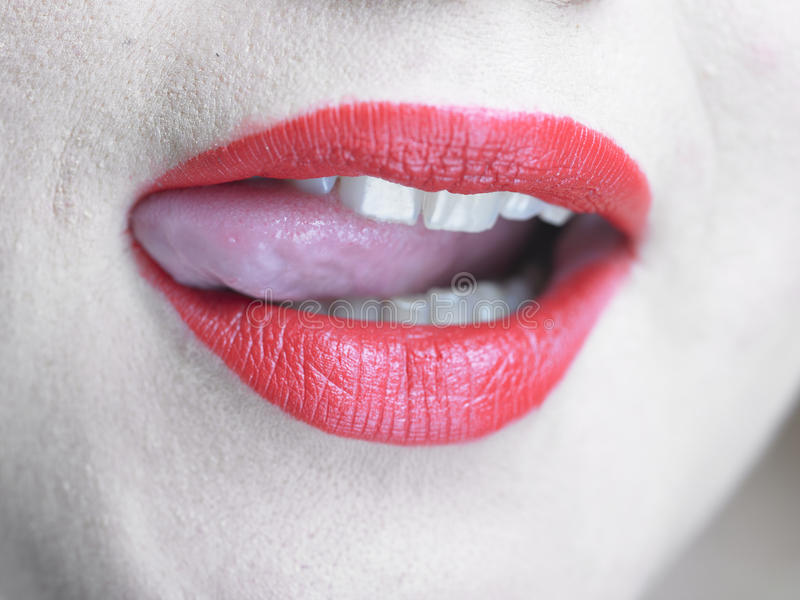Download Beautiful Woman Is Licking Her Lips Stock Photo - Image: 17720570