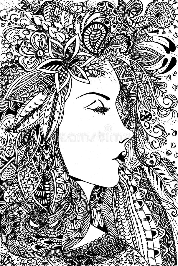 Line Art Digital Painting : Beautiful woman line art drawing stock illustration