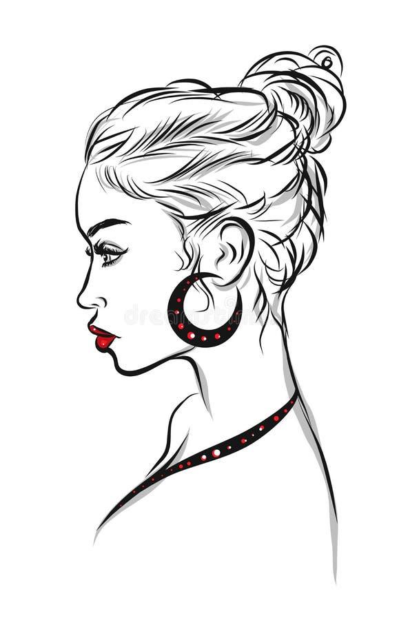 Beautiful woman line art illustration stock illustration