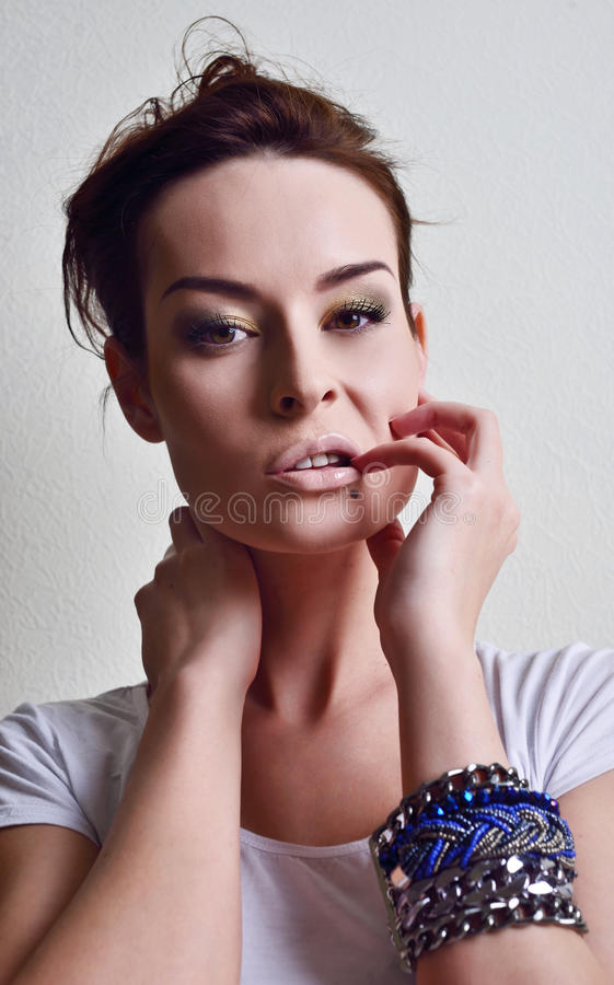 Beautiful woman, lips and fingers royalty free stock photos