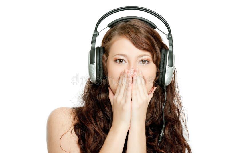 Beautiful Woman Listening Music Royalty Free Stock Image