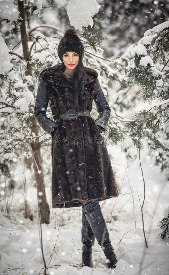Beautiful woman in long black fur coat and cap enjoying the winter scenery in forest. Brunette girl posing under snow-covered tree. S branches in woods royalty free stock images