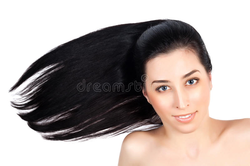 Download Beautiful Woman With Long Brown Straight Hairs Stock Photo - Image: 28254678