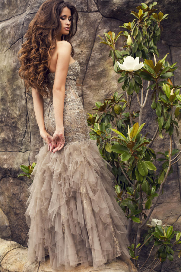 Beautiful woman with long curly hair in luxurious dress stock image