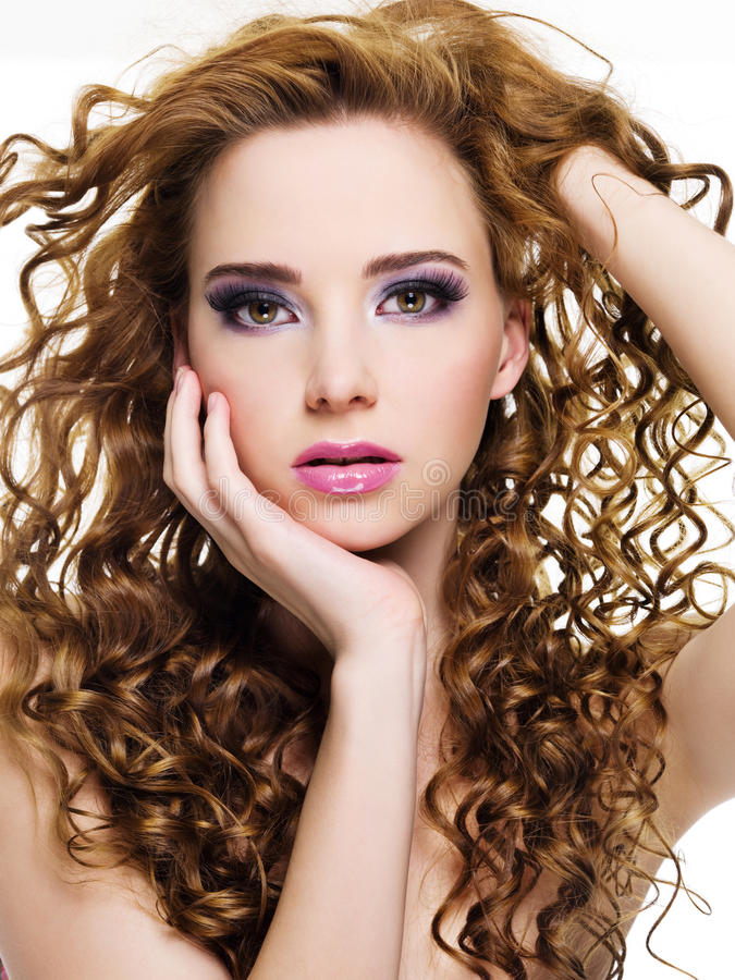 Download Beautiful  Woman With  Long Curly Hairs Stock Photo - Image: 14382146