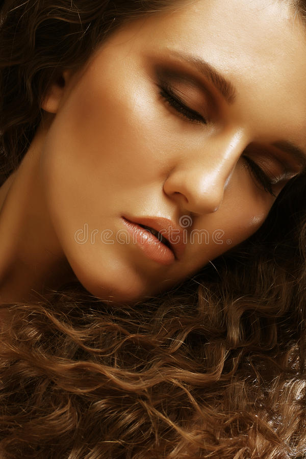 Download Beautiful Woman With Long Curly Hairs Stock Photo - Image: 39903485