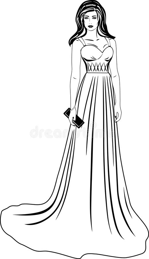 Beautiful woman in a long dress. Black and white royalty free stock image