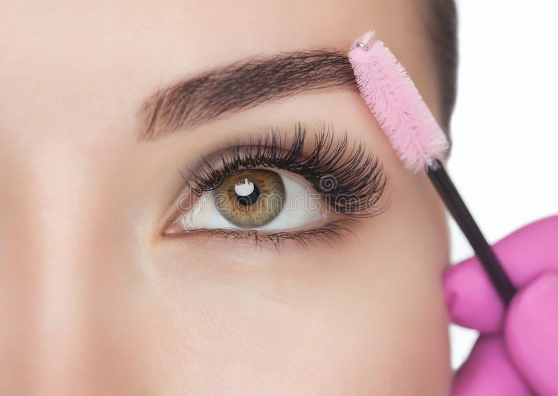 Beautiful Woman with long eyelashes in a beauty salon. Eyelash extension procedure. Lashes close up stock photo