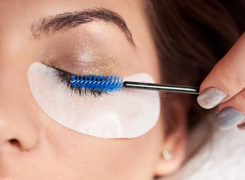 Close-up of beautiful woman with long eyelashes in beauty salon stock photos