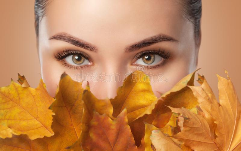 Beautiful woman with long eyelashes and with beautiful smokey eyes makeup holds yellow leaves near the face. Eyes close up. stock photography