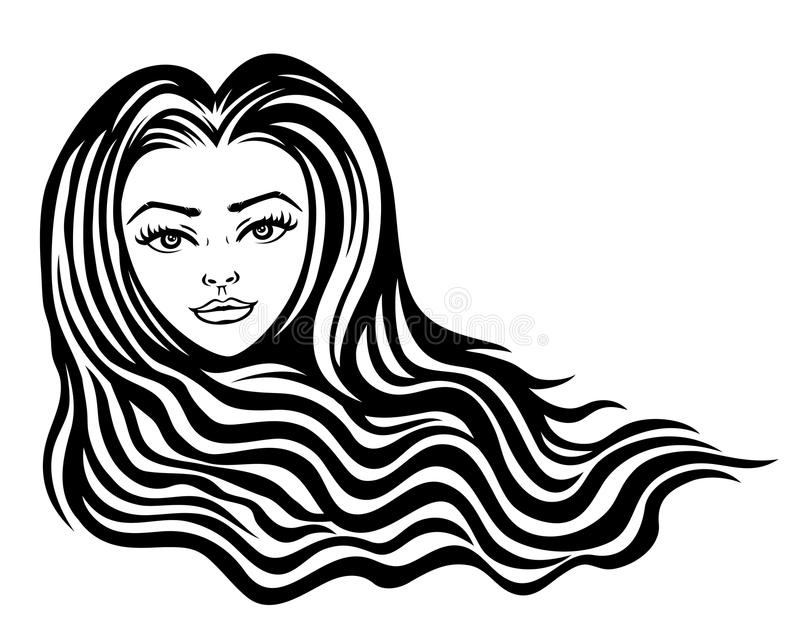 Beautiful woman with long hair. Beautiful woman with long hair on a white background stock illustration