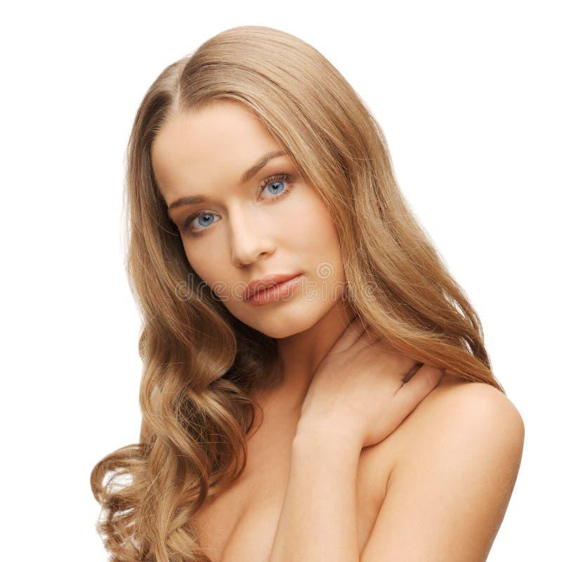 Beautiful woman with long hair stock photo
