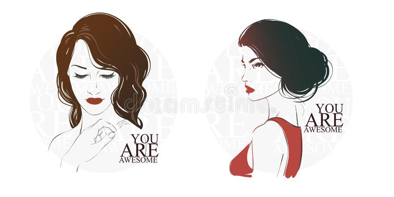 Beautiful woman with long hair, hand drawn line vector fashion illustration stock illustration