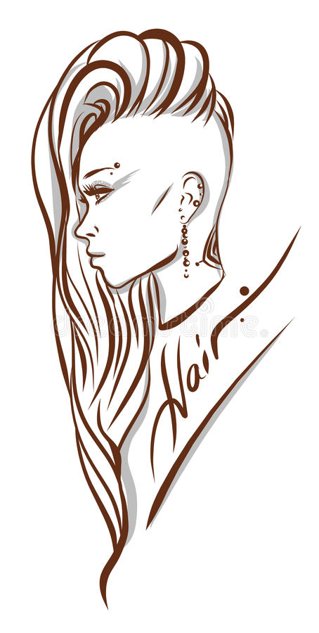 Beautiful woman with long hair illustration. Isolated
