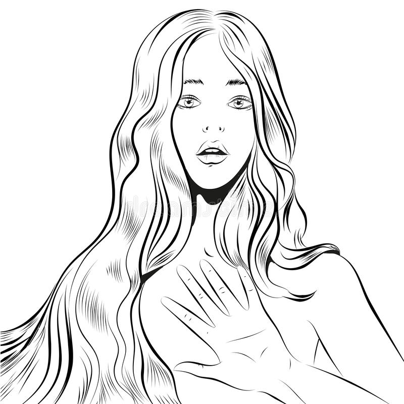 Beautiful woman with long hair qestuing NO or stop line art royalty free illustration