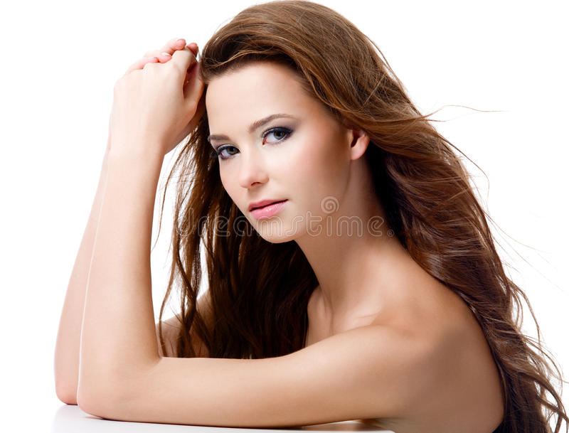 Beautiful woman with long hairs stock image