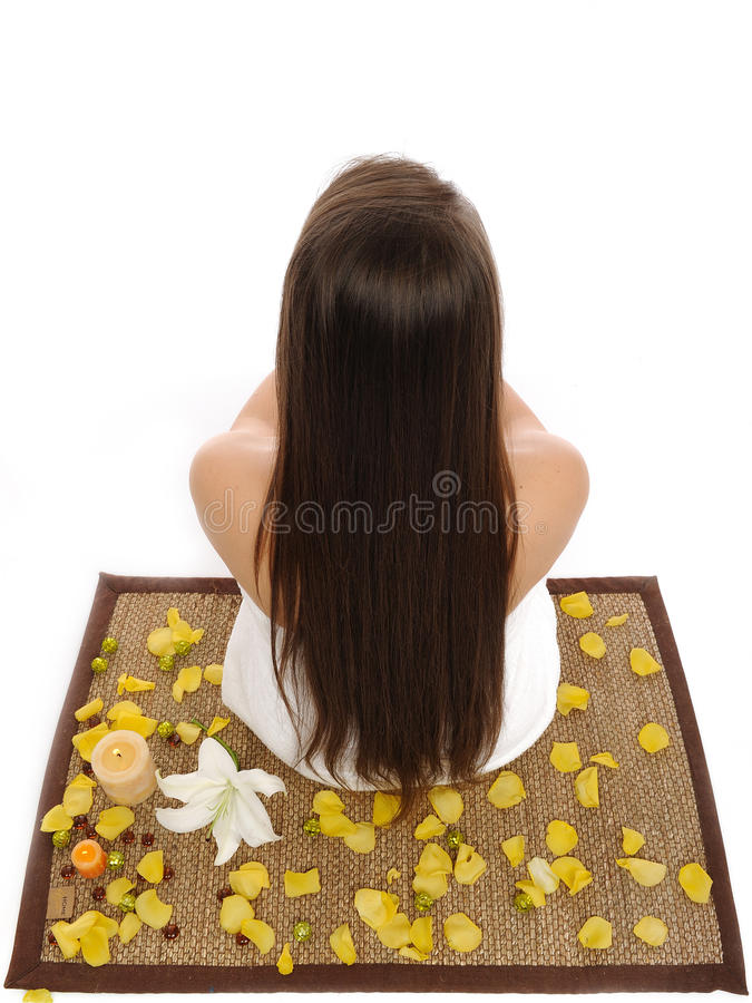 Download Beautiful Woman With Long Healthy Hair Relaxing Stock Image - Image: 17168075