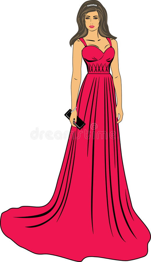 Beautiful woman in a long red dress stock images