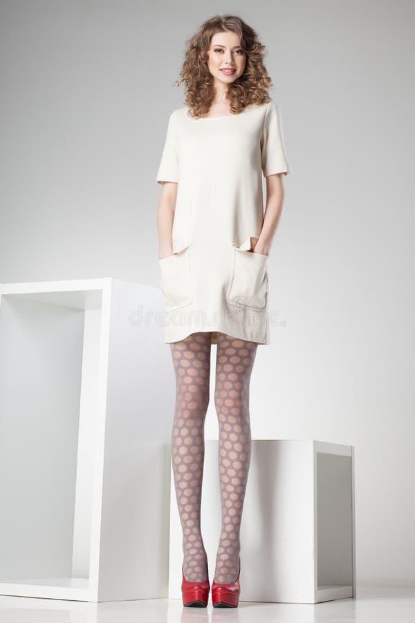Beautiful Woman With Long Legs Dressed Elegant Posing In The Studio - Full Body Stock -7091