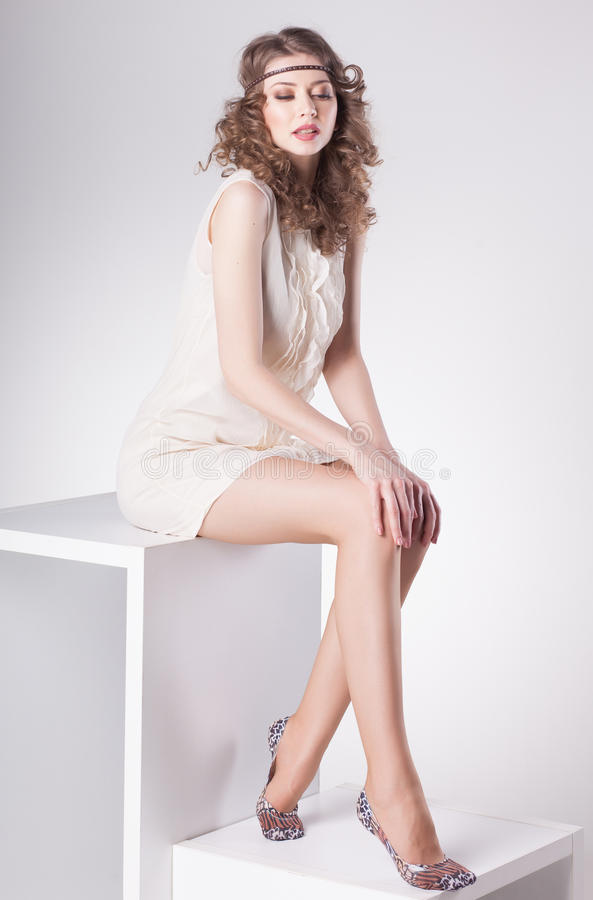Beautiful woman with long legs wearing socks posing in the for A beautiful you at vesuvio salon studios