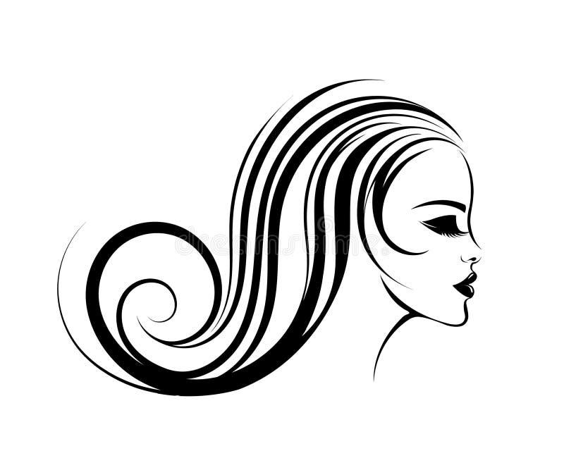 Beautiful woman with long, wavy hair, closed eyes and bold makeup. royalty free illustration