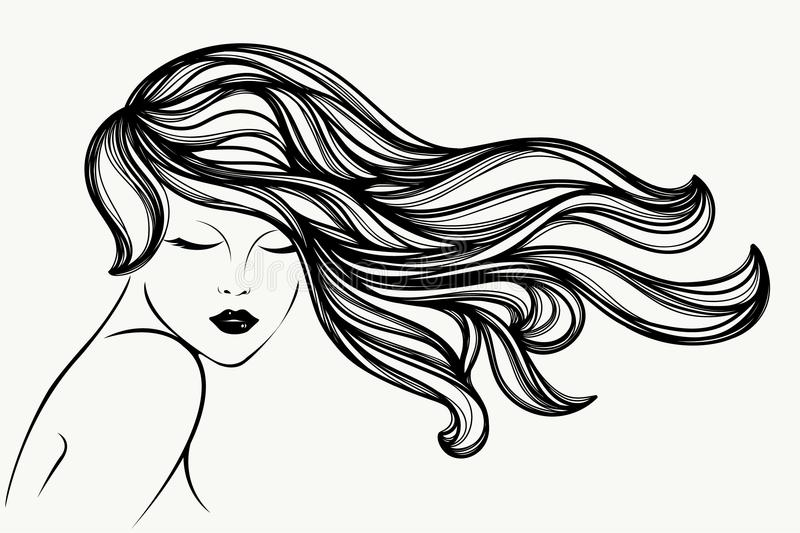 Beautiful woman with long, wavy hair, closed eyes and elegant makeup. Hair salon vector icon. royalty free illustration