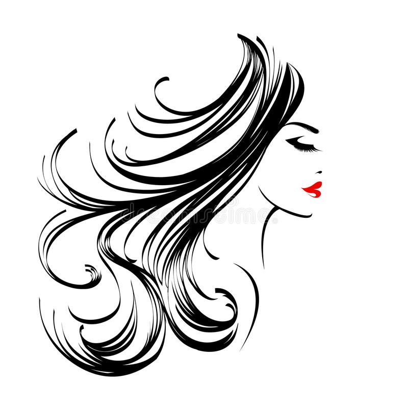 Beautiful woman with long, wavy hair and nice makeup stock illustration