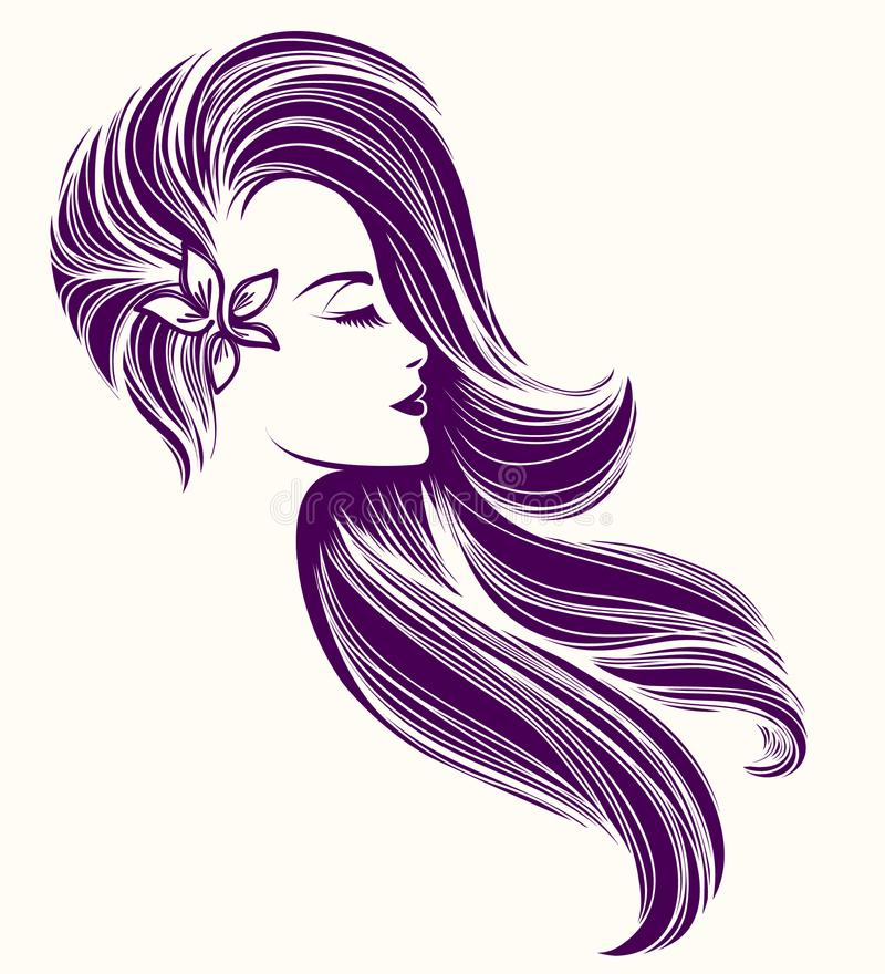 Beautiful woman with long, wavy hairstyle and flower in her hair. Vector illustration. royalty free illustration