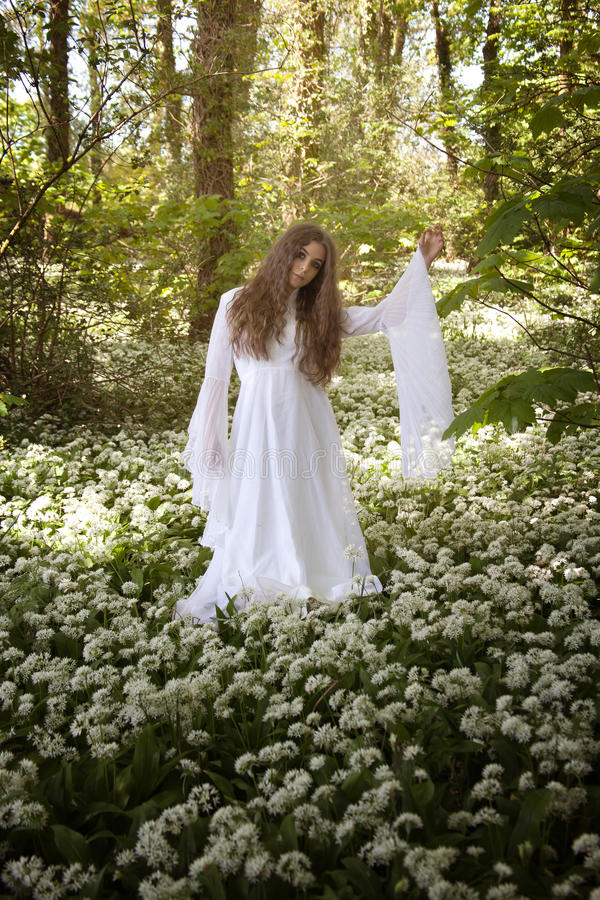 Beautiful woman in long white dress standing in a forest. Beautiful woman in long white medieval dress standing in a forest looking straight to camera with one stock photography