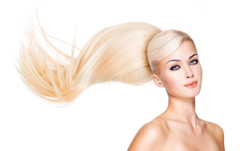 Beautiful woman with long white hair. Closeup portrait of a fashion model over white background stock photos